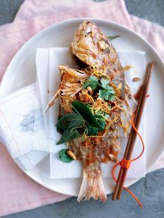 Crispy whole fish with tamarind dressing