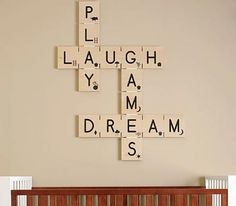 Absolutely love this Scrabble inspired decoration! This could definitely be easily made (I would have to look up what the Scrabble pieces look like since I can't remember the numbers that go with each letter). Scrabble Kunst, Scrabble Wall Art, Scrabble Tiles, Scrabble Letters, Alphabet Letters, Scrabble Ornaments, Scrabble Crafts, Scrabble Wand, Interior Design Guide