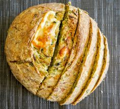 Cheesy Spinach and Caramelized Onion Bread: Homemade bread loaded with sweet caramelized onions, spicy habanero and fresh spinach makes the perfect anytime snack -- especially delicious hot out of the oven.
