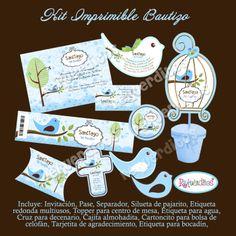 Kit Imprimible Bautizo Presentacion Pajarito Baby Bautizos A Mxn 100