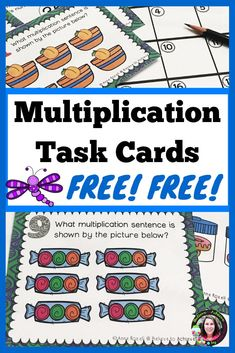 This is a colorful set of 24 task cards to practice multiplication skills. This set is a wonderful addition to your lessons! I I've included a recording sheet and answer key. Multiplication Activities, Math Activities, Math Games, Maths, Math Stations, Math Centers, 3rd Grade Math, Third Grade, Grade 3