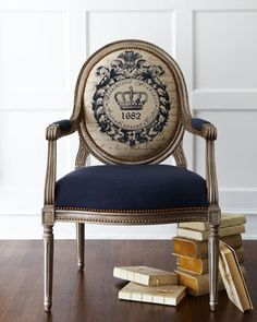 "Can I just pretend I'm Marie Antoinette for a moment? Macarons and all.   - ""Antiquity"" Chair by Massoud at Horchow."