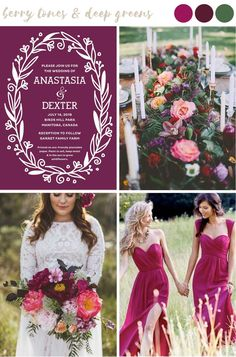 Find wedding color inspiration like this dramatic and romantic mix of berry tone. Find wedding color inspiration like this dramatic and romantic mix of berry tones and deep greens for stylish and trendy summer weddings. Perfect Wedding, Dream Wedding, Luxury Wedding, Berry Wedding, Burgundy Wedding, Spring Wedding Colors, Spring Colors, August Wedding Colors, Bright Wedding Colors