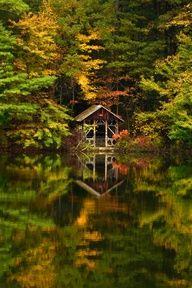 boat house on quiet lake