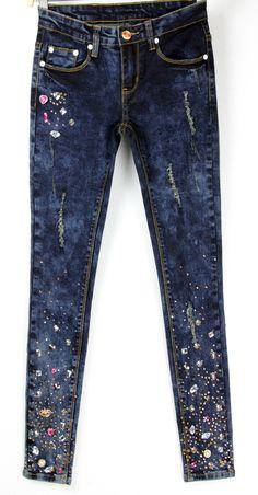 8a119b13 SEPTDEER Estilo Europeo Nuevo Diamante De Color de Gran Tamaño Para Mujer  Jeans Stretch Lápiz Femenino Pantalones Señora AD9675 en Pantalones vaqueros  de ...