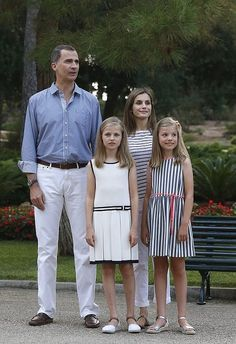 King Felipe, Queen Letizia and their daugthers Princess Leonor and Princess Sofia of Spain posed for the media during the annual 2016 summer photo session at the Marivent Palace on August 4, 2016 in Palma de Mallorca, Spain.