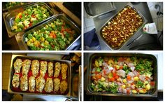 Lunch dishes before going into the oven