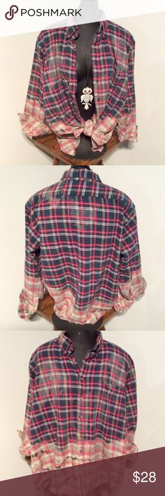"""Black, Red & Gray Boyfriend Flannel! Nice & roomy button down flannel shirt. A men's XL/ women's XXL. 25"""" from armpit to armpit. Custom bleached for your protection. 😜 You'd look so cute in this! The last photo showing the shirt's tags is the best representation of the colors on this shirt. Yay! Waygood Redux Tops Button Down Shirts"""