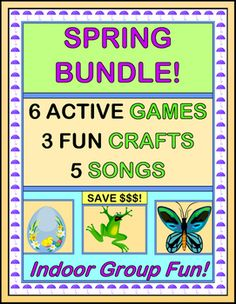"Have fun on rainy days with SIX ACTIVE INDOOR GAMES. Make THREE CRAFTS, and sing FIVE SONGS that go along with your games. Includes ""Egg Dance!"", ""Birds in the Nest"", ""What's Your Froggie's Favorite Color?"", ""Froggies on the Lily Pad"", ""Butterfly Dance"", and ""The Earthworm Shuffle"". (31 pages) Save $ with a bundle! From Joyful Noises Express TpT! $"