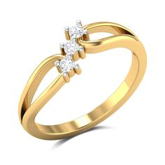 This ring in and gold is styled with three diamonds arranged diagonally on the centrepiece. Diamond Eyes, Diamond Studs, Diamond Rings, Diamond Jewelry, Gold Rings Jewelry, Simple Jewelry, Gold Ring Designs, Small Rings, Delicate Rings