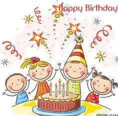 Buy Kids Birthday Party by katya_dav on GraphicRiver. Kids birthday party with a big cake Art Drawings For Kids, Drawing For Kids, Easy Drawings, Art For Kids, Drawing Lessons, Happy B Day, Happy Kids, Birthday Greetings, Birthday Wishes