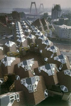 Cube houses, Rotterdam, Piet Blom, 1982-84....looks like a mothership landed.