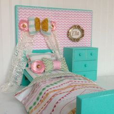 Bow and banner doll bedroom set Mint green and pink by Head2Heart