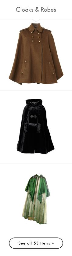 """""""Cloaks & Robes"""" by creatingpulsars ❤ liked on Polyvore featuring outerwear, coats, jackets, cape, tan, brown tweed coat, cape coat, long cape, long tan coat and brown cape"""