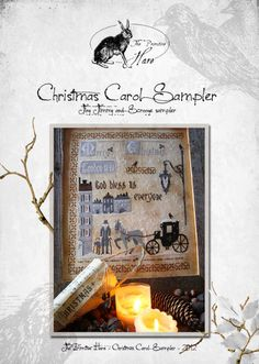 Christmas Carol Sampler third pattern in by ThePrimitiveHare, $15.90