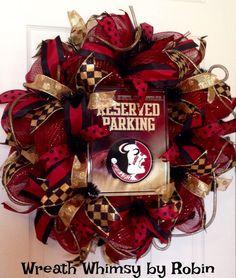 FSU Seminoles Deco Mesh Wreath by WreathWhimsybyRobin on Etsy