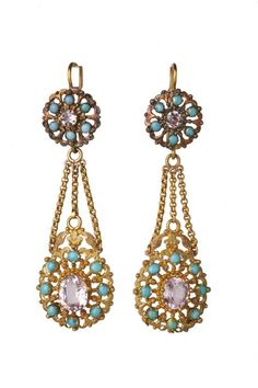 Gold openwork earrings set with amethysts and turquoises. English c1820. Museum of London