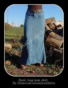 Custom to Your Size Long Jean Skirt size 0 2 4 by CustomJeanSkirts Fashion Tips For Women, Womens Fashion, Fashion Ideas, Fashion Top, Fashion Edgy, Fashion 2018, Fashion Pants, Vintage Fashion, Jean Skirt Outfits