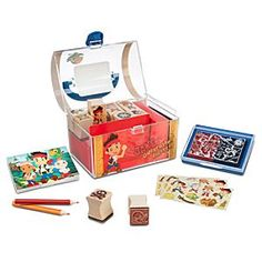 Disney Jake and the Never Land Pirates Stamp Set | Disney StoreJake and the Never Land Pirates Stamp Set - Reap a reward untold in creative gold using Jake's cool stamp set with clear acrylic treasure chest container! With wooden stamps, stamp pad, crayons, colored pencils, and pad, all you'll need to add for the voyage is imagination!
