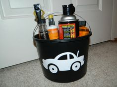 """car wash bucket--one side has the vinyl car and one side has the vinyl letters """"Wash me!"""""""