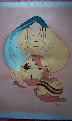 Southwest Indian Pueblo Woman Oil Painting on Canvas signed by P. Asian Bowls, Canvas Signs, Oil Painting On Canvas, My Ebay, Nativity, Native American, Chinese, Indian, Fantasy