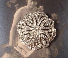 Brooch OR Hair Comb, Art Deco Clear Rhinestone Encrusted Round TRUE Vintage Heirloom Bridal Brooch or Haircomb Gatsby or wedding cake bling!