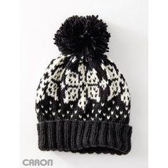 Nordic Flake Hat-free knit pattern to download @ Yarnspirations
