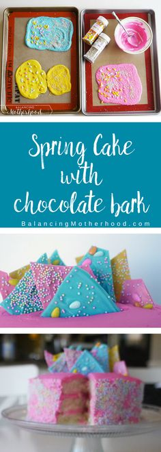 Colorful spring cake with chocolate bark in pink, teal, and yellow! And, of course sprinkles! This is a great spring or Easter cake! Full instructions.