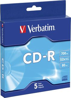 Verbatim - 52x CD-R Discs with Slim Cases (5-Pack), 98940