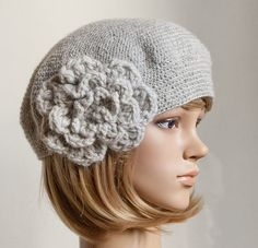CROCHET PATTERN instant download - Bewitching Beatrice Beret - grey gray crochet flower hat cap beanie tutorial PDF