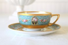 Rare Antique Handpainted Black Knight Hutschenreuther Fine Porcelain China Heavy Gold Gilt Teacup & Saucer Bavaria, Germany - c. 1939 - 1945