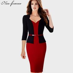 One-piece Faux Jacket Elegant V-neck Work dress Office Bodycon 3/4 Sleeve $31.89   => Save up to 60% and Free Shipping => Order Now! #fashion #woman #shop #diy  http://www.yiclothes.net/product/nice-forever-stylish-one-piece-faux-jacket-elegant-v-neck-work-dress-office-bodycon-female-34-sleeve-sheath-woman-dress-b328/