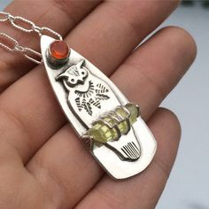 Owl necklace  totem jewelry  apatite crystal  raw crystal by prox
