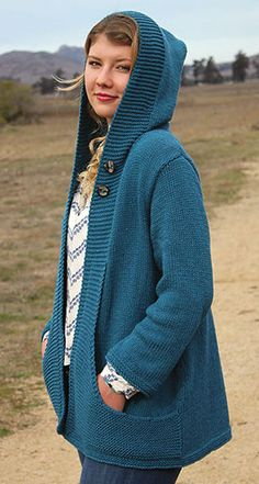 Knitting Pattern for Wanderlust Hooded Cardigan - Versatile long-sleeved sweater features deep pockets and a hood. Sizes Woman's S through 2XL.