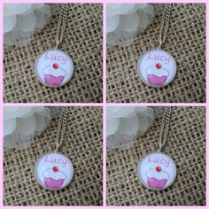 Personalised Bridesmaid Gift Cup Cake Art Pendant Necklace x 4 £25.50