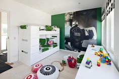Koti on suunniteltu perheelle, jossa on Pretty Bedroom, Dream Bedroom, Marimekko Fabric, Kidsroom, Bunk Beds, Room Inspiration, Locker Storage, Kids Rugs, Children
