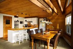 love Kitchen/dining room layout window placement yes side door placement yes Interior Wood Shutters, House Paint Interior, Log Home Living, Cottage Living, House Painting Cost, Energy Efficient Homes, Log Cabin Homes, Wood Interiors, Classic House