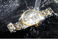LONGBO Luxury Lovers Couple Watches Date Day Waterproof Gold Stainless – njbtrends