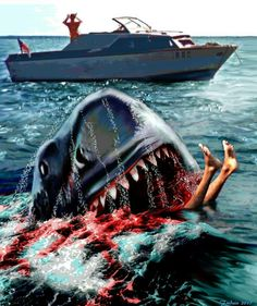 Jaws 2 poster - Art by Federico Alain Jaws 2, Jaws Movie, Horror Films, Horror Art, Famous Movies, Good Movies, Primal Fear, Shark Art, Shark Tattoos