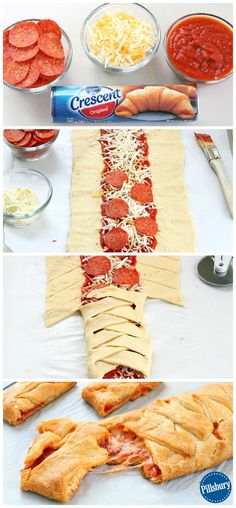 A family fun night couldn't be easier than with this Kid-Favorite Pepperoni Pizza Braid. Guaranteed to please! A family fun night couldn't be easier than with this Kid-Favorite Pepperoni Pizza Braid. Guaranteed to please! Pizza Braid, Braided Pizza Bread Recipe, Pizza Twists, Appetizer Recipes, Dinner Recipes, Pizza Appetizers, Dinner Ideas, Appetizer Ideas, Fun Pizza Recipes