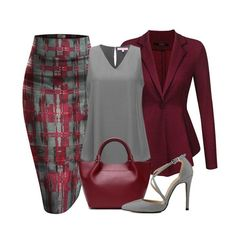 Hybrid and Company printed pencil skirt, an ACEVOG peplum blazer Jacket, A Regina X v-neck blouse, a genuine leather trapeze luxury handbag and a pointy toe cross strap stiletto completes a great look. Classy Outfits, Chic Outfits, Fashion Outfits, Womens Fashion, Fashion Trends, Skirt Fashion, Skirt Outfits, Summer Outfits, Mode Outfits