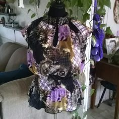 Classy high necked paisley blouse Purple, black & brown paisley blouse with a wisp if sleeve. Suitable for office attire. Worn once Essentials by Miland Tops Blouses