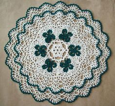 Lacy St Patrick's Day Crochet Doily Pattern   Found at: crochetdoilies.com