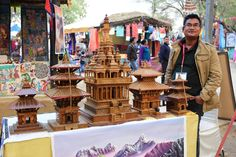 Nir Bahadur, an artiste from Nepal presents beautiful replicas of temples in Nepal made from bamboo on sale at the ongoing Surajkund Mela Stalls, Temples, Nepal, Bamboo, Presents, Beautiful, Gifts, Favors, Gift
