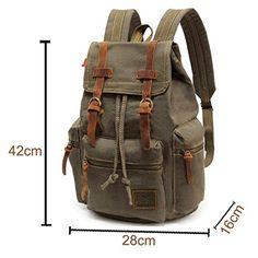 PianPian Canvas Unisex Elegant Backpack Rucksack Knapsack Daypack School Bag 28x16x42cm Army Green