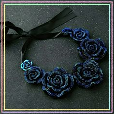 blue rose vintage statement choker necklace Beautiful Korean style Rose choker Jewelry Necklaces