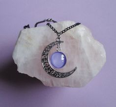 witchy crescent moon necklace, pastel goth, gothic necklace, pagan jewelry, witchy necklace