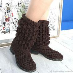 Купить Сапожки вязаные коричневые, полушерсть, р.38 - сапожки крючком, сапожки вязаные, Сапожки Crochet Boots, Crochet Slippers, Knit Crochet, Shoe Pattern, Knitting Socks, Cute Shoes, Knitting Projects, Cross Stitching, Leg Warmers