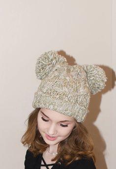 75753658cd1 Double Pompom Hat Black Ribbed Hat with 2 Fur Pom Pom Hat SALE Ski Women Hat  Kylie Jenner Style Christmas Gift under 100