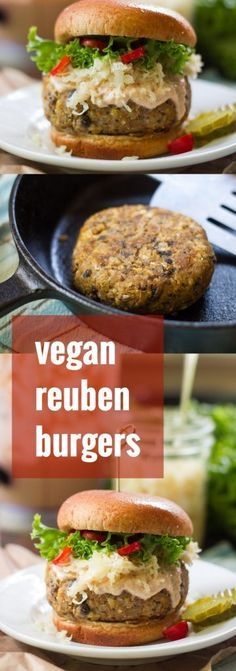 vegan Reuben burgers are made with savory mushroom and chickpea patties, piled high with creamy vegan Russian dressing and tangy sauerkraut! Vegan Dinner Recipes, Raw Food Recipes, Veggie Recipes, Vegetarian Recipes, Cooking Recipes, Healthy Recipes, Vegetarian Barbecue, Plant Based Burgers, Vegan Main Dishes
